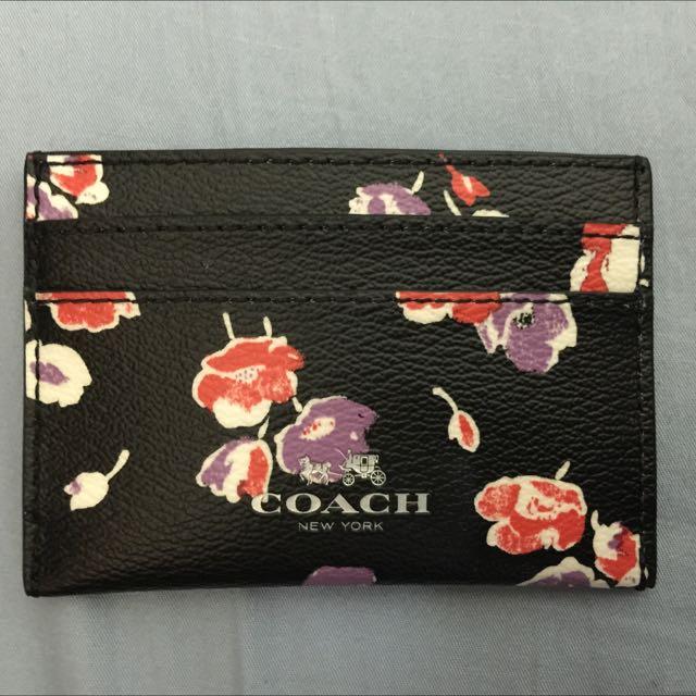 全新 正品 COACH 花朵 卡夾