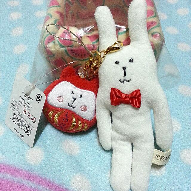 全新免運♡ CRAFTHOLIC新年限定達摩祝福子母吊飾娃娃 手機包包吊飾-兔