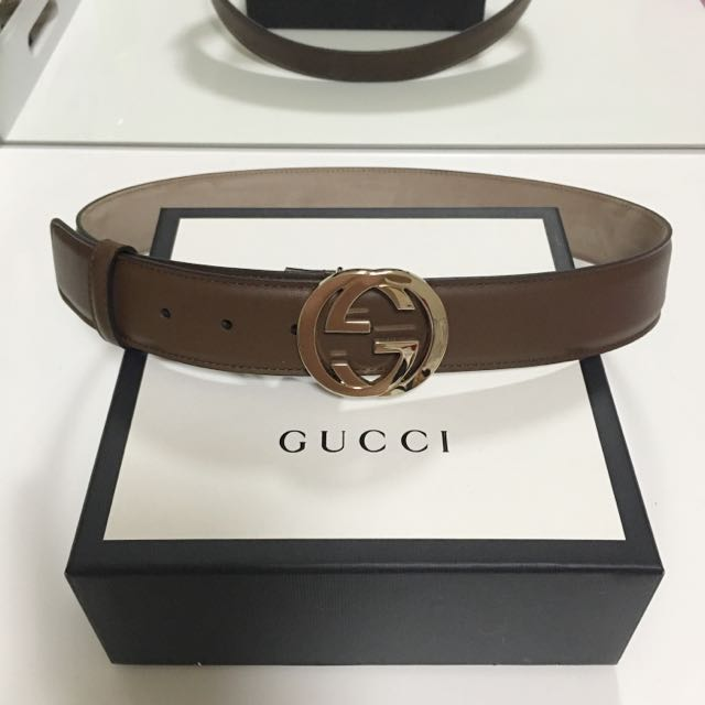 Authentic Gucci Leather Belt With Interlocking G Buckle