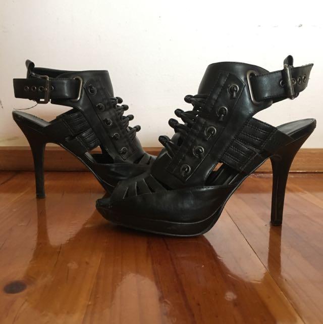 Black Biker Sexy Platform Peeptoe Heels