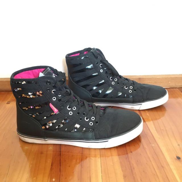 Black Glam High Tops Shoes/sneakers