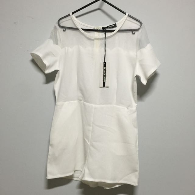 BNWT Fashion Union playsuit / White / Size 8