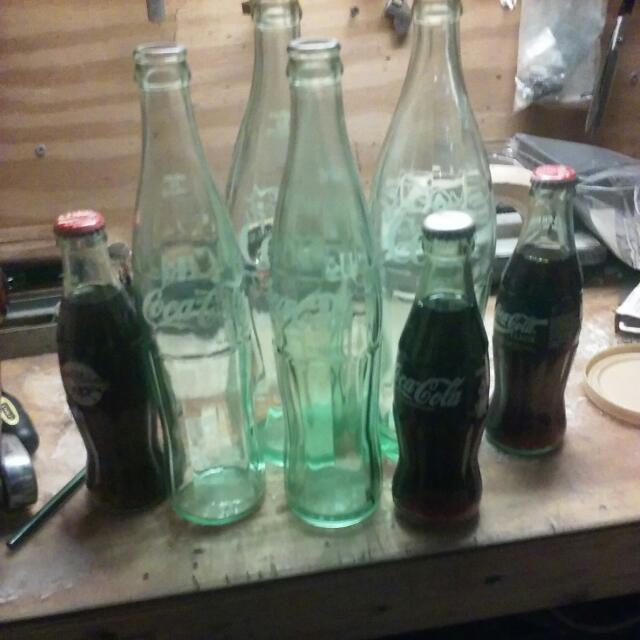 Classic Coca Cola Bottles 7 Different Sizes