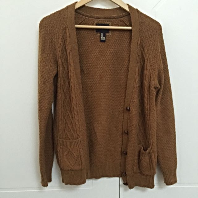 "Forever 21 Brown ""Grandpa"" Cardigan"