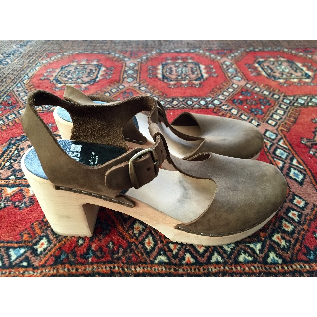 Funkis clog high camilla – Brown Leather