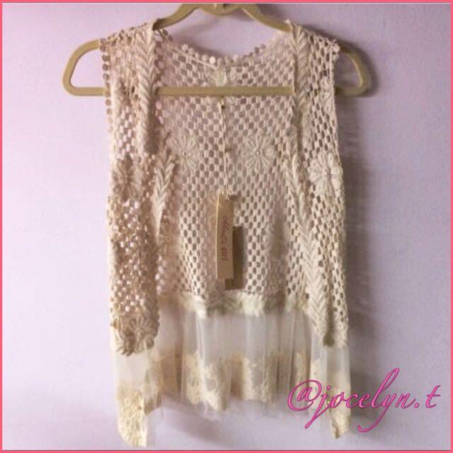 Bn Japan Flower Crochet Vest Sleeveless Cardigan Womens Fashion