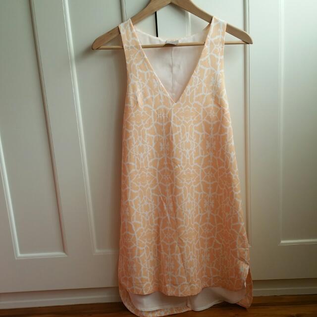Light Apricot Printed Dress Size 8