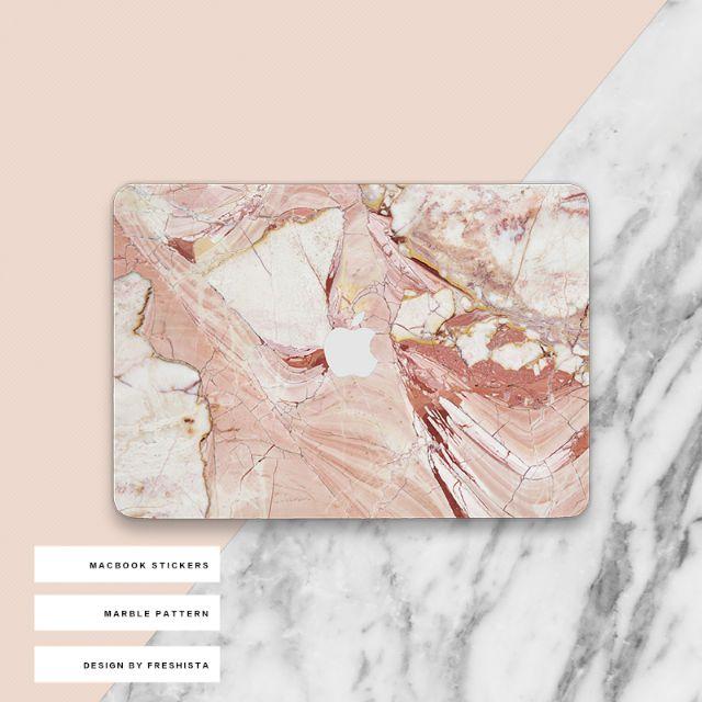 原創意簡約紅色大理石紋MacBook電腦保護膜貼
