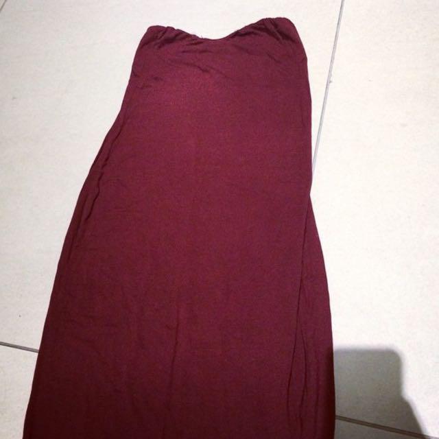 Maroon Maxi Bandeau Dress.