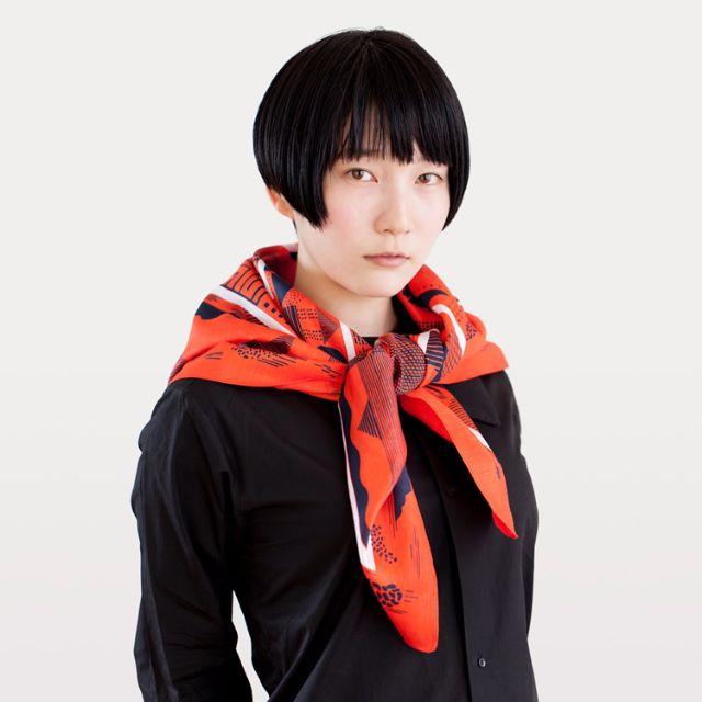 Maze Furoshiki Scarf — Red