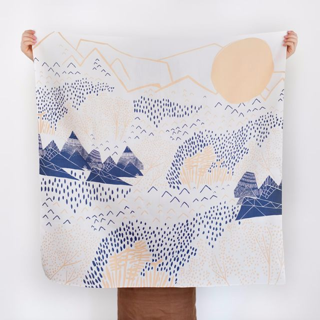 BRAND NEW: Mountain Blossom Furoshiki Scarf — Light