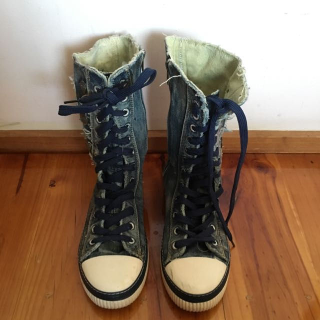 Punky Jeans Look High Cut Shoes.
