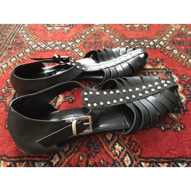 Sole Society sandals in black with silver studs