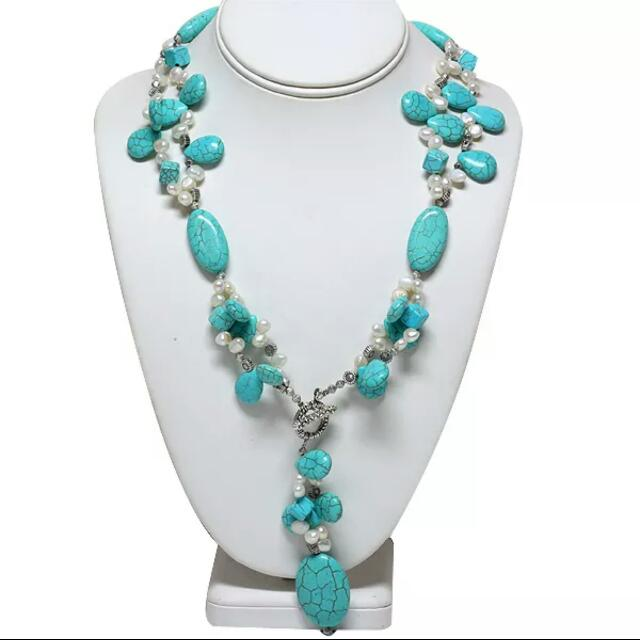 *$85 Off Special Offer* New Turquoise & Freshwater Pearl Toggle Necklace