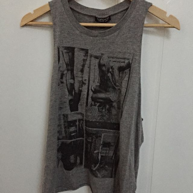 Topshop High Neck Grey Loose Fit Singlet Size 10