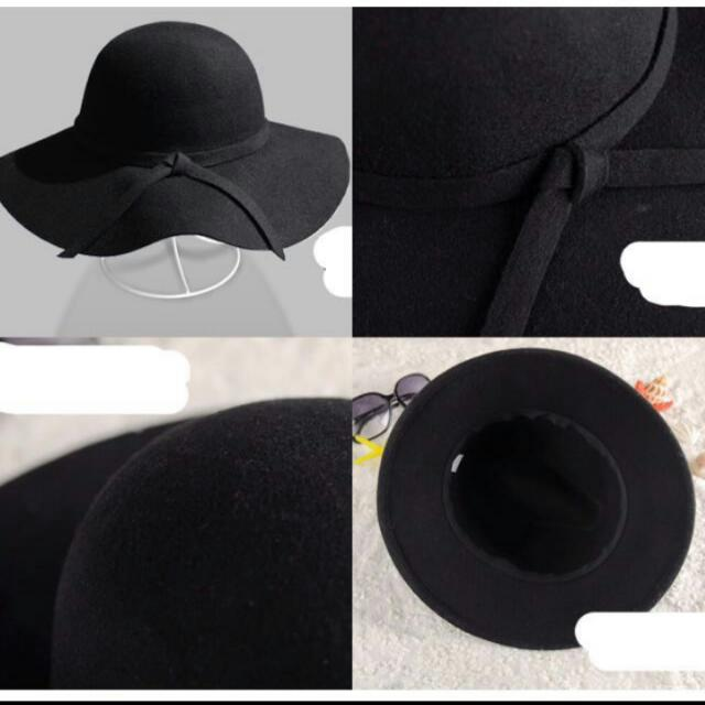 Wide Brim Floppy Black Sun Hat