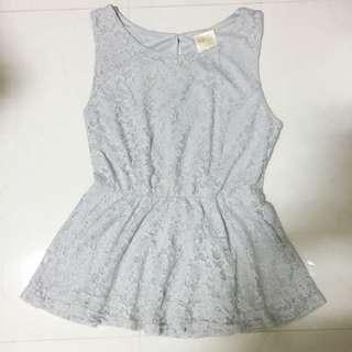 (SALE) Lace Peplum Top (Grey)