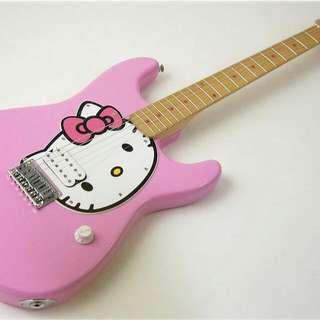 (9.9成新)代售~Fender Squier Hello Kitty造型正版授權電吉他