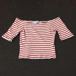 Lily brown 羅紋短版條紋上衣 紅色尺寸F