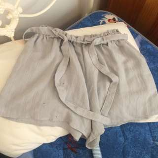 Blue-grey High Wasted Shorts