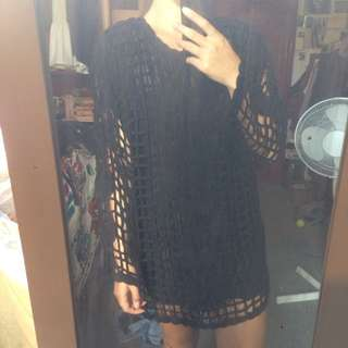 Black Caged Detail Tunic Free Size