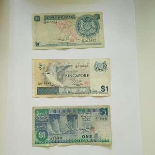 Singapore 3x$1 Notes