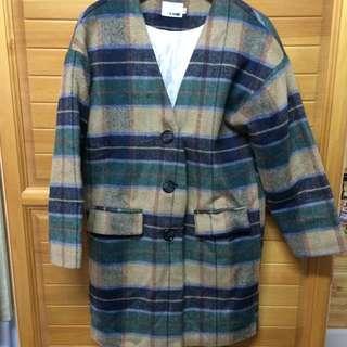 (含運)復古格紋大衣