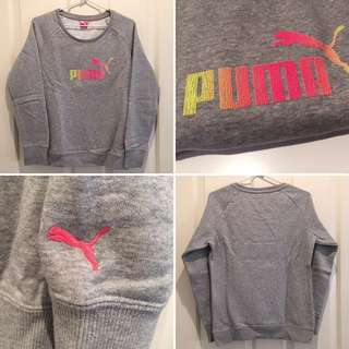 🚩FREE📦 GREY Pink Yellow Ombre PUMA Crew Neck Sweatshirt Jumper Warm Gym Clothing Casual Clothes Nike Adidas Style Pink Sweater Small 6 8 10