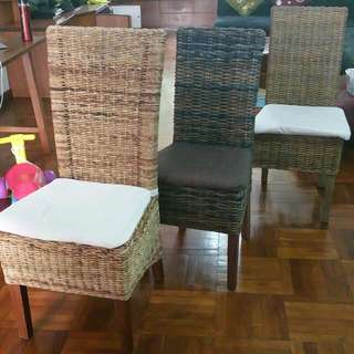 Solid Wood rattan Chairs By Star Living For 25 Each