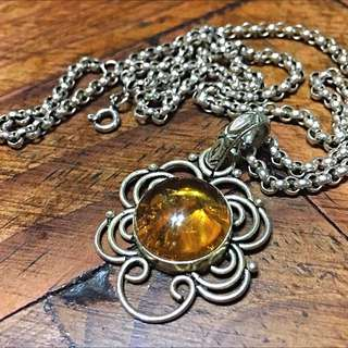 Amber Pendant With 925 Sterling Silver Stamp.