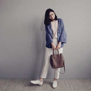 YourzJAN #36 推薦款!雙口袋下襬羅紋厚針織外套(藍紫色)
