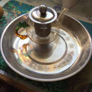 Tea Pot With Stainless Steel Dish
