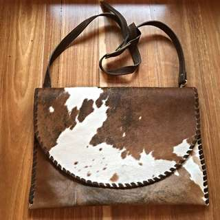 Handmade Leather Handbag/ Clutch Cow Hide