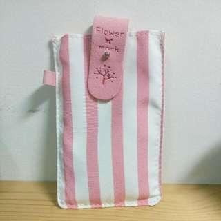 全新韓風文青粉色條紋手機袋/套 收納包