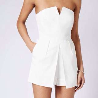 Topshop Petite White Playsuit