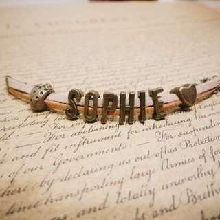 手工客製 復古英文字母皮絨手環 手鍊