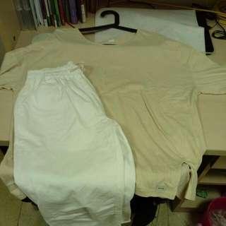 米色側開衩/白色休閒褲(春裝來囉! 一套配到好