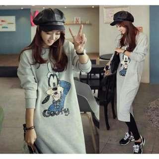 ♞嬰 樂♘韓版卡通狗哺乳連身裙 上衣 哺乳長版T  T恤 哺乳衣