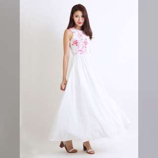 Giselle White Floral Maxi Dress by The Willow Label