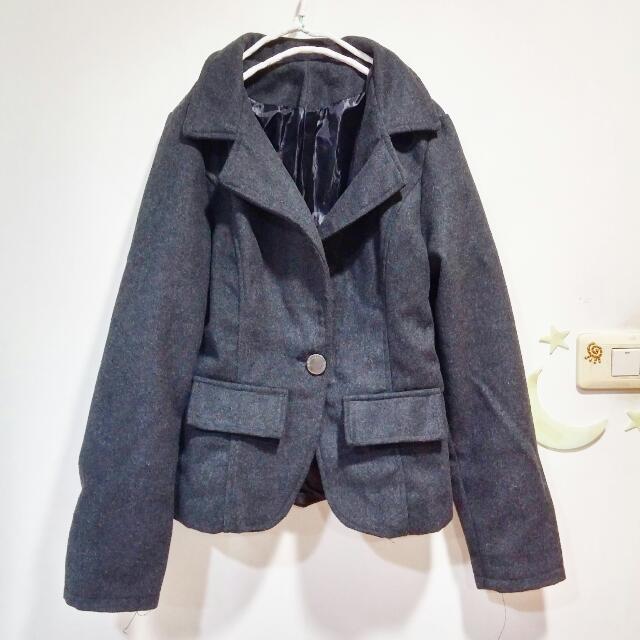 鐵灰色蝴蝶結短版西裝外套