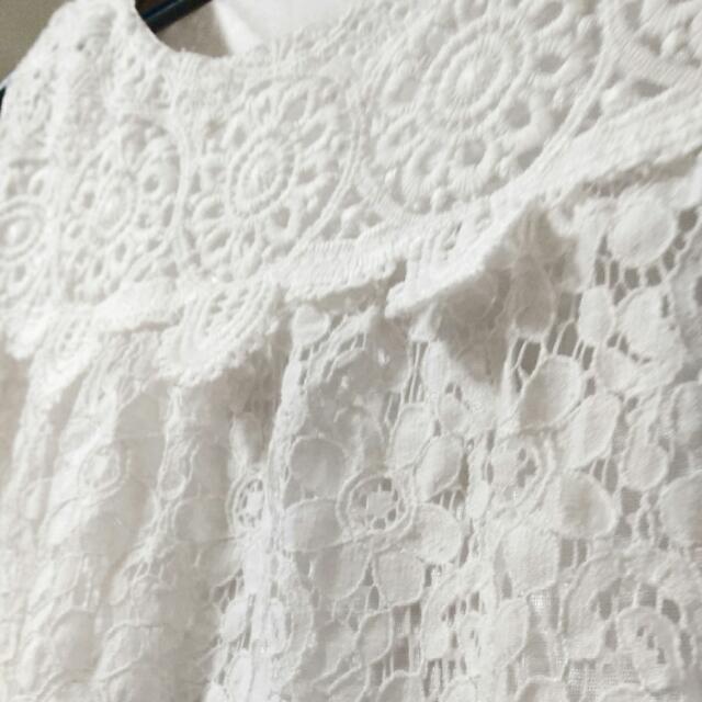 ㊣純白無袖超顯瘦~蕾絲背心洋裝㊣