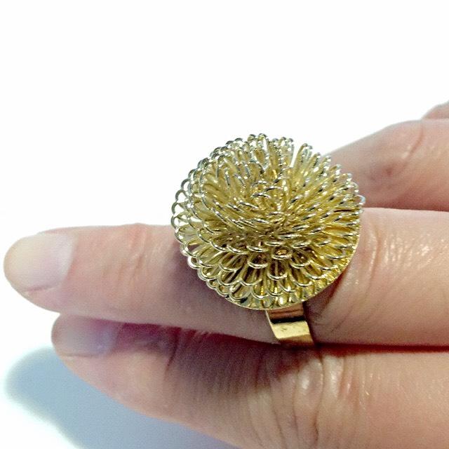 韓版--輕熟女時尚金色蒲公英戒指