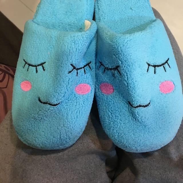 好保暖絨毛拖鞋 水藍色