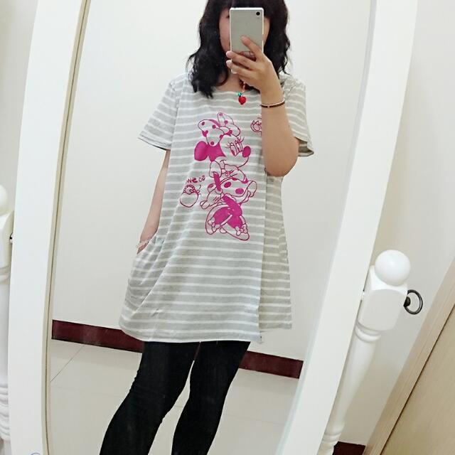 俏皮粉紅米妮 短袖 休閒散狀長版衣