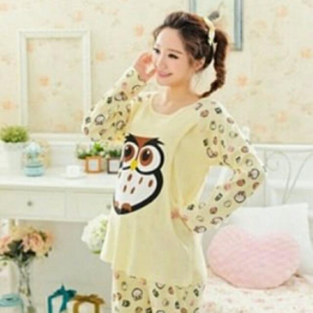 ♞嬰 樂♘ 貓頭鷹 長袖 哺乳衣 月子服 孕婦裝 產婦 哺乳睡衣 長褲 套裝 B010