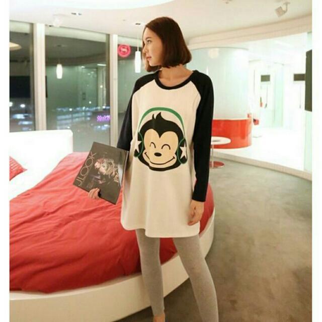 ♞嬰 樂♘韓風耳機猴長袖哺乳上衣 T恤 哺乳T 哺乳衣 月子服 孕婦裝 產婦 哺乳睡衣