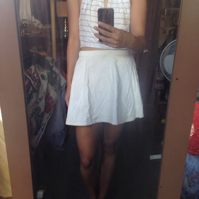 American Apparel Cream Corduroy Skirt Size S