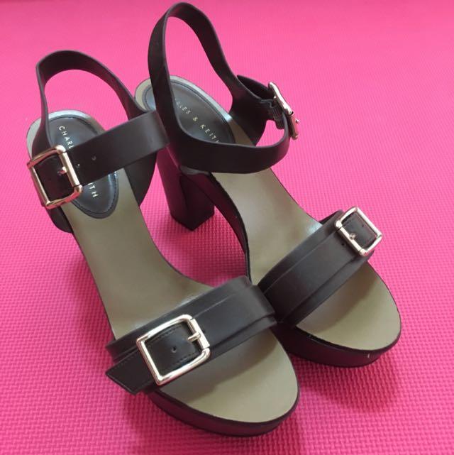 Charles & Keith Dark Brown Chunky Platform Heels