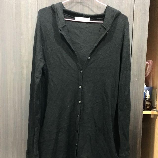 純merino (美麗諾羊毛)黑色連帽長版外套