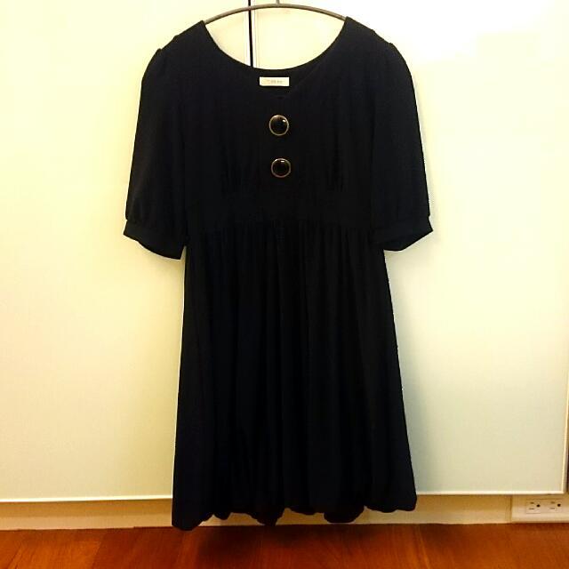 (二手)T.a.b半袖黑色洋裝